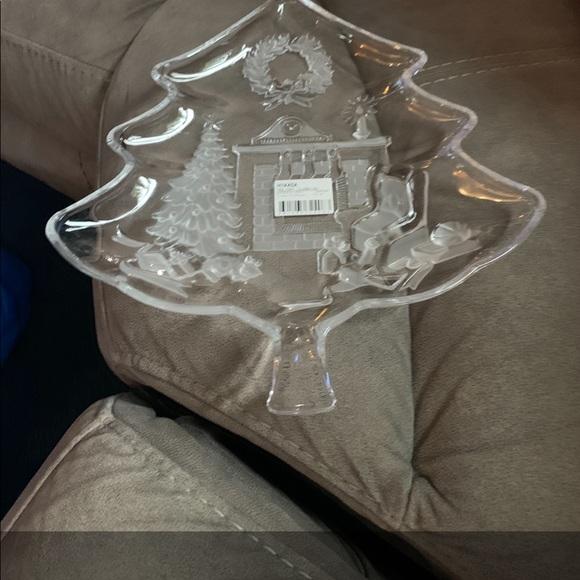 Mikasa Holiday Classics Crystal Tree Platter - MIB